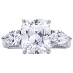 GIA Certified 4.03 Carat G-SI1 Cushion Cut Diamond Ring