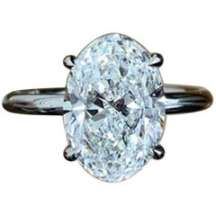GIA Certified 4.03 Carat Oval Cut Diamond Platinum Ring