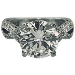 GIA Certified 4.03 Carat Round Diamond Platinum Tacori Royal T HT 2606RD Ring
