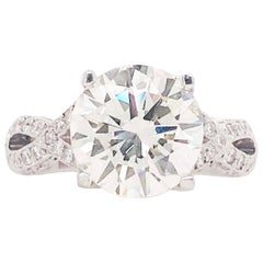 GIA Certified 4.03 Carat Round Diamond Platinum Tacori Royal T HT 2606RD Ring