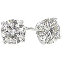 GIA Certified 4.03 Carat Round Diamond Stud Earrings