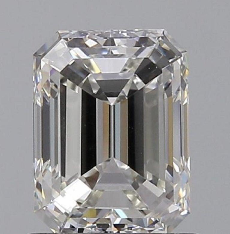 IGI ANTWERP 5 Carat Emerald Cut Diamond Ring For Sale 1