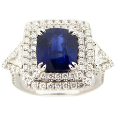 GIA Certified 4.04 Carat Sapphire and Diamond Cocktail Ring