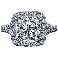 GIA Certified 4.05 Carat Cushion Cut Diamond Ring with Halo
