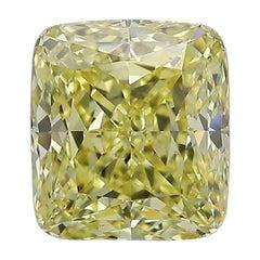 GIA Certified 4.05 Fancy Intense Yellow Cushion Cut Diamond