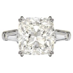 GIA Certified 4.06 Carat Cushion Diamond Ring Triple Excellent