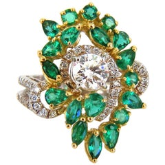 GIA Certified 4.06 Carat Emerald and Diamonds Cocktail Cluster Ring 18 Karat