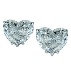 Vivid Diamonds GIA Certified 4.06 Carat Heart Shape Diamond Stud Earrings