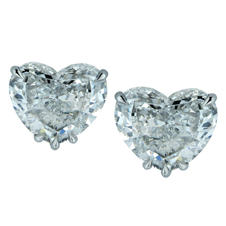 Vivid Diamonds GIA Certified 4.06 Carat Heart Shape Diamond Stud Earrings For Sale