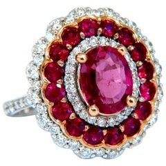 GIA Certified 4.06 Carat Oval Cut Red No Heat Ruby Diamonds Ballerina Ring 14kt