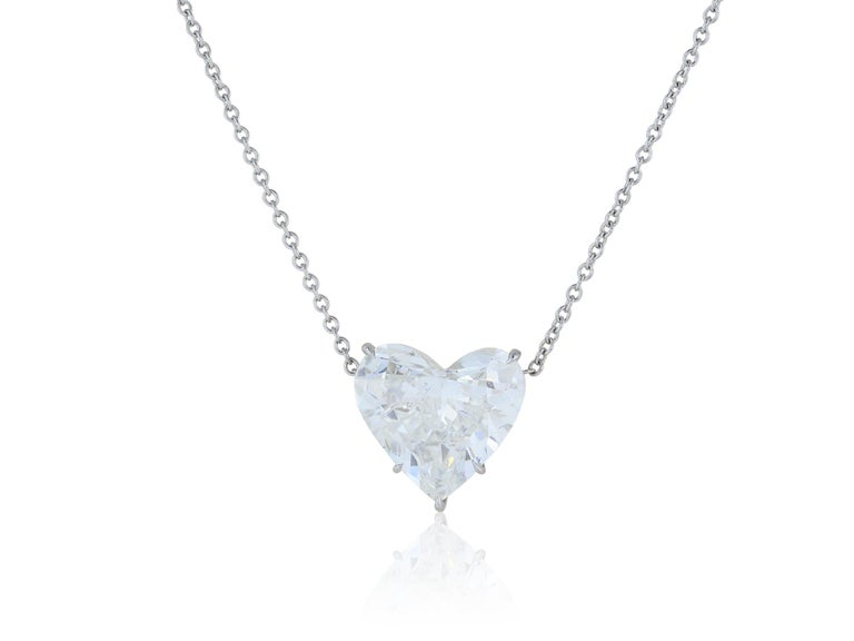 Platinum pendant consisting of one heart shaped diamond weighing 4.07 carats with a color and clarity of I/SI1 respectively, with GIA certificate 2181080736, prong set in a simple basket setting, suspended from a platinum chain 16 inches in length.