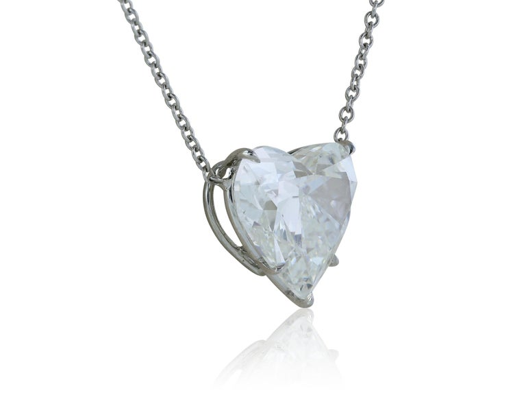 Contemporary GIA Certified 4.07 Carat Heart Shaped Pendant I SI1 For Sale