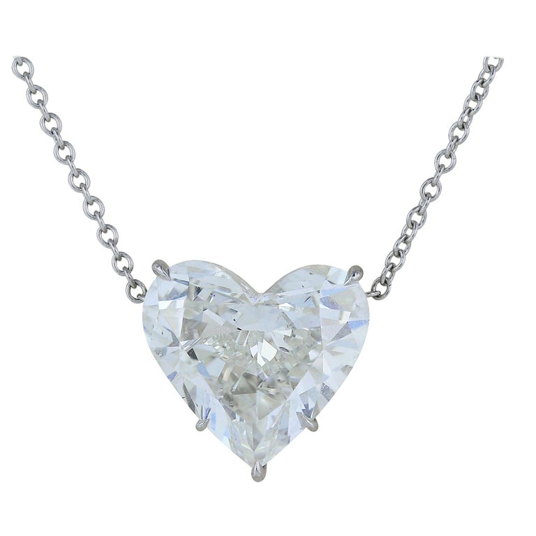 GIA Certified 4.07 Carat Heart Shaped Pendant I SI1 For Sale
