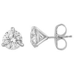 GIA Certified 4.08 Carat Diamonds Round Platinum Stud Earrings