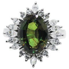 GIA Certified 4.08 Carat Natural Alexandrite and Diamond Ring