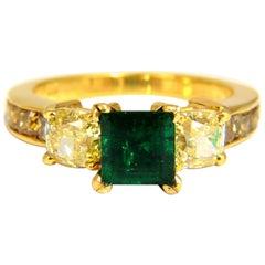GIA Certified 4.09 Carat Natural Emerald Fancy Yellow Diamonds Ring 18 Karat