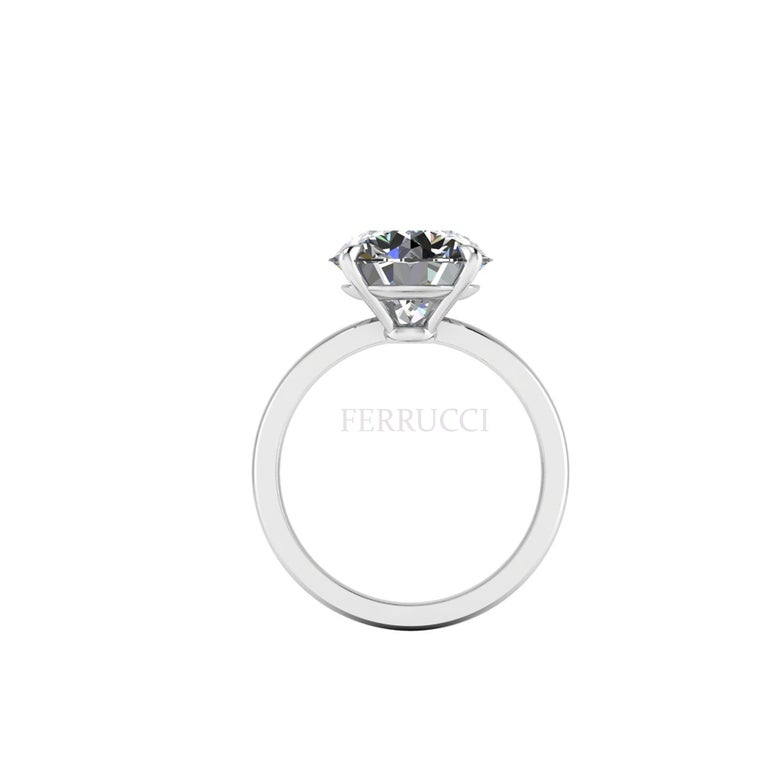 Art Deco GIA Certified 4.09 Carat Round Diamond Platinum 950 Solitaire Ring For Sale