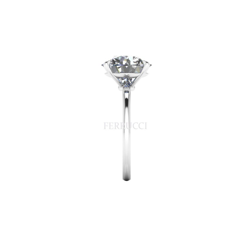 Round Cut GIA Certified 4.09 Carat Round Diamond Platinum 950 Solitaire Ring For Sale