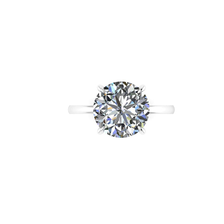 GIA Certified 4.09 Carat Round Diamond Platinum 950 Solitaire Ring In New Condition For Sale In Lake Peekskill, NY