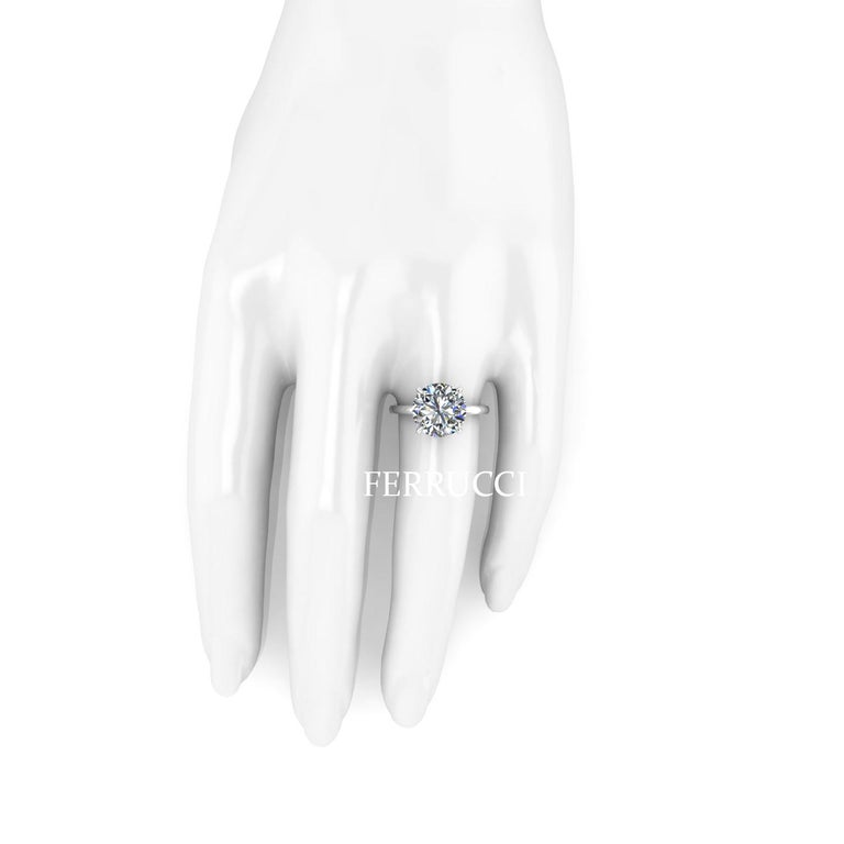Women's GIA Certified 4.09 Carat Round Diamond Platinum 950 Solitaire Ring For Sale