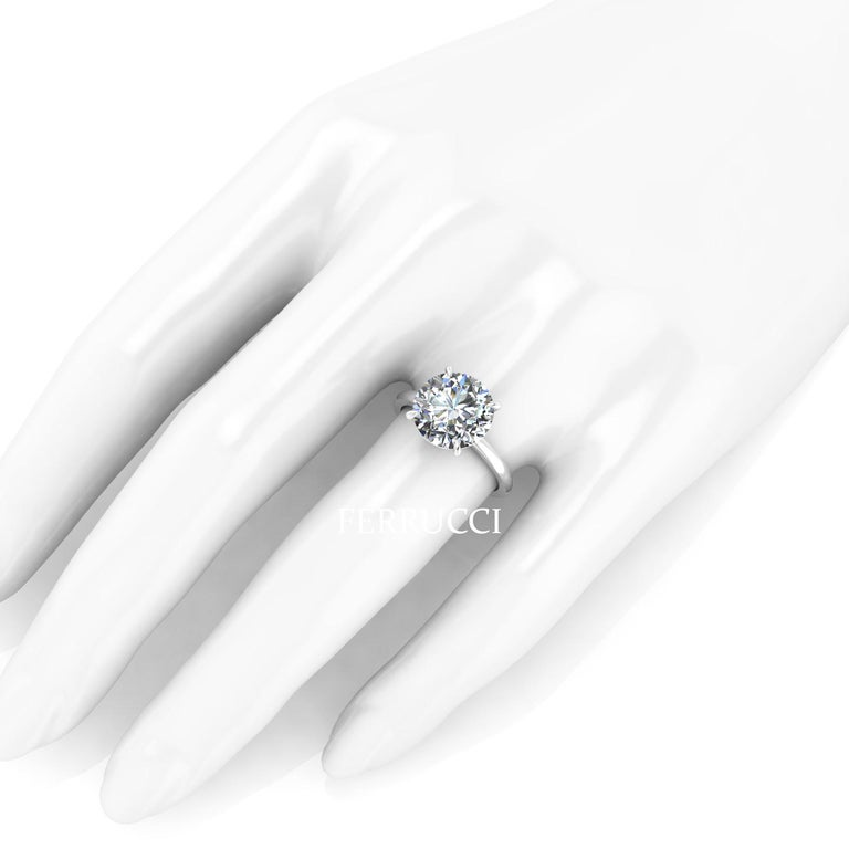 GIA Certified 4.09 Carat Round Diamond Platinum 950 Solitaire Ring For Sale 1
