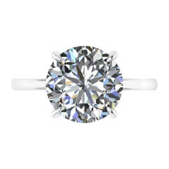 GIA Certified 4.09 Carat Round Diamond Platinum 950 Solitaire Ring