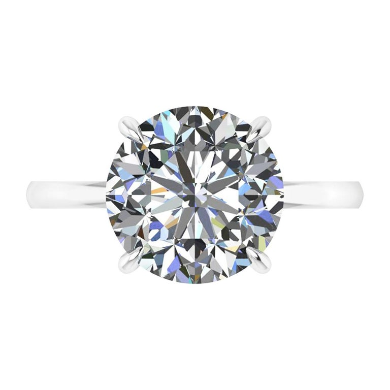 GIA Certified 4.09 Carat Round Diamond Platinum 950 Solitaire Ring For Sale
