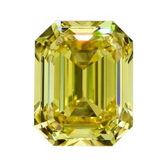 GIA Certified 4.10 Carat Natural Fancy Vivid Yellow VVS1 Emerald Cut Diamond
