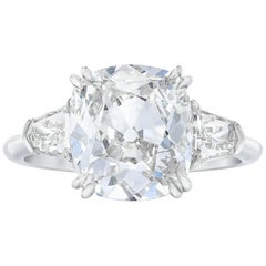 GIA Certified 4.10 Carat Old Mine Cushion Cut Ring