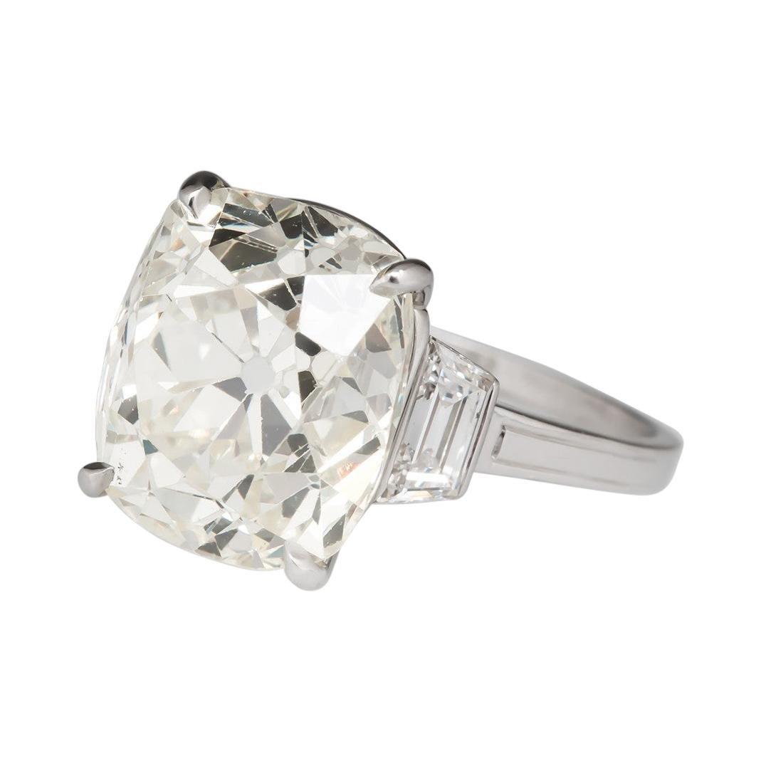 GIA Certified 3.80 Carat Old Mine Diamond Platinum Ring