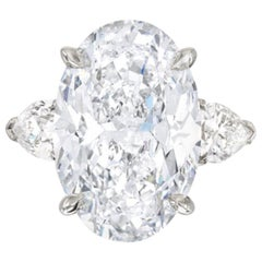 GIA Certified 4.50 Carat Oval Diamond Platinum Ring G Color VS2 Clarity