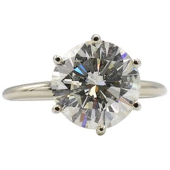 GIA Certified 4.10 Carat Round Brilliant Cut Diamond Engagement Solitaire Ring