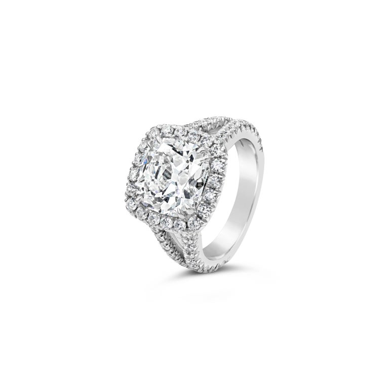 Contemporary GIA Certified 4.11 Carat Cushion Diamond Halo Engagement Ring For Sale