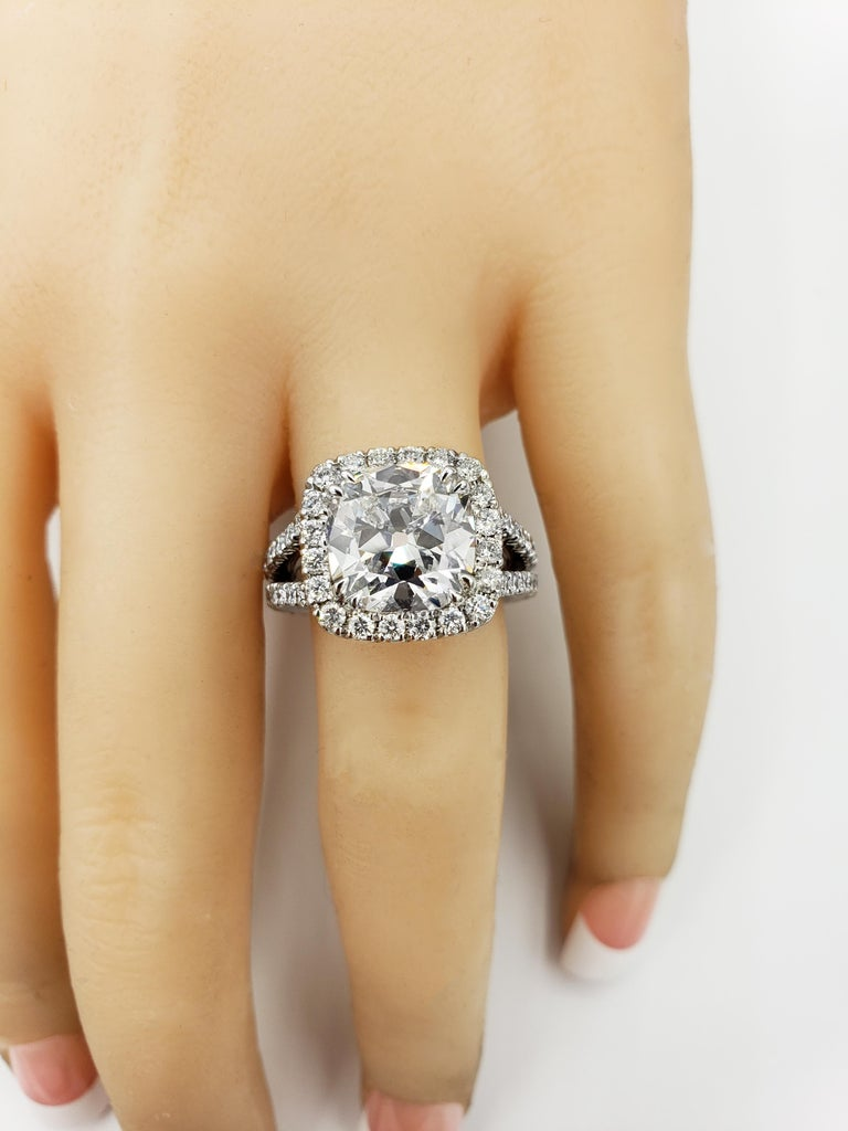 Women's GIA Certified 4.11 Carat Cushion Diamond Halo Engagement Ring For Sale