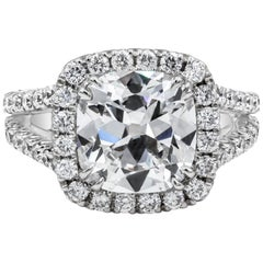 GIA Certified 4.11 Carat Cushion Diamond Halo Engagement Ring