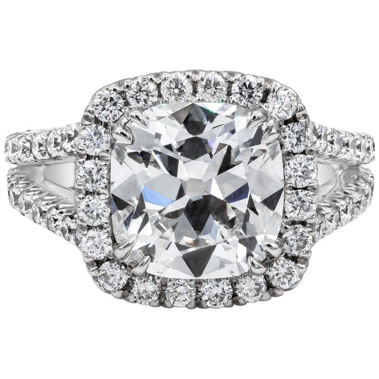 GIA Certified 4.11 Carat Cushion Diamond Halo Engagement Ring For Sale