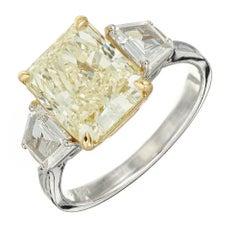GIA Certified 4.11 Carat Diamond Platinum Gold Three-Stone Engagement Ring