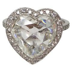 GIA Certified 4.11 Carat Heart Shape Rose Cut Ring in Platinum