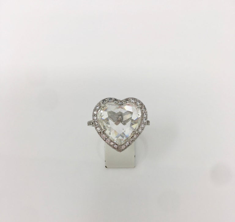 GIA Certified 4.11 Carat Heart Shape Rose Cut Ring In Platinum.  For Sale 5