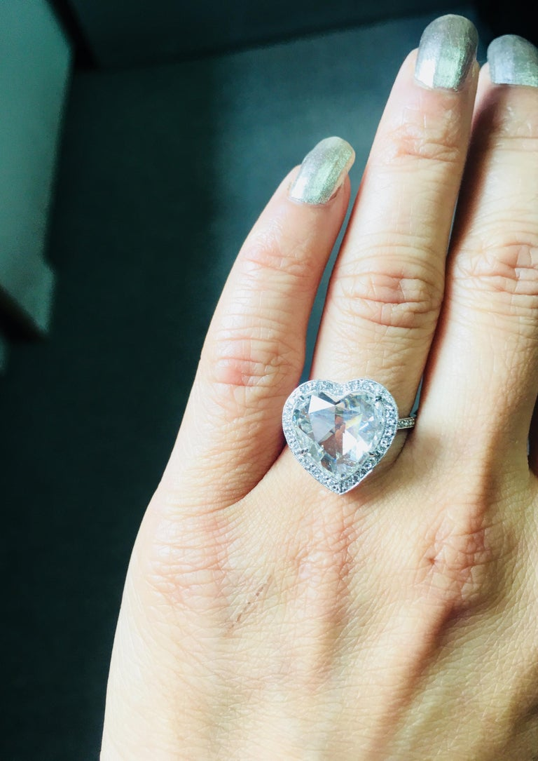 Contemporary GIA Certified 4.11 Carat Heart Shape Rose Cut Ring In Platinum.  For Sale