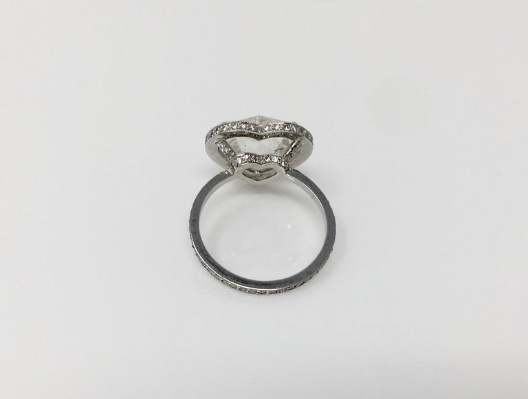 GIA Certified 4.11 Carat Heart Shape Rose Cut Ring In Platinum.  In New Condition For Sale In New York, NY