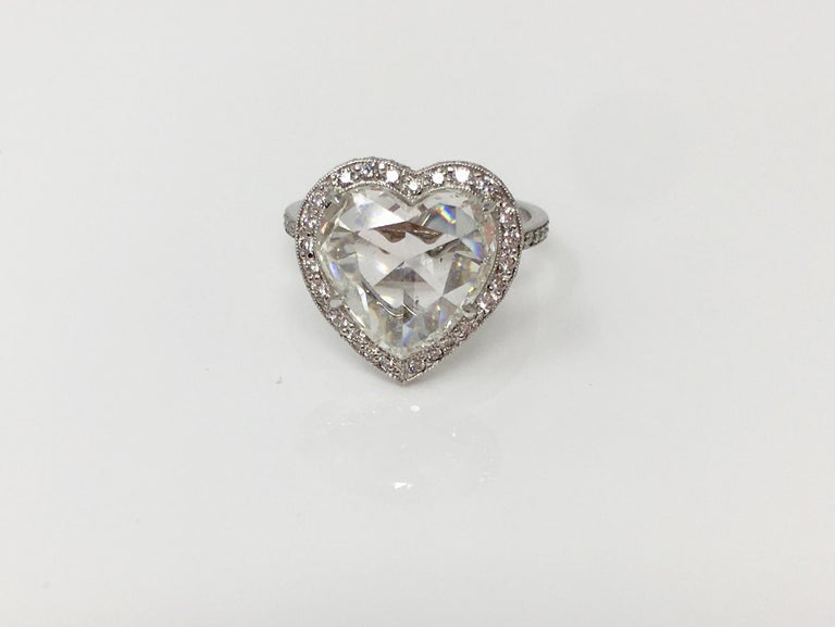 Women's GIA Certified 4.11 Carat Heart Shape Rose Cut Ring In Platinum.  For Sale