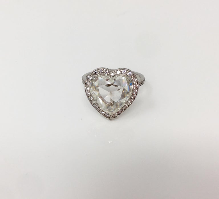 GIA Certified 4.11 Carat Heart Shape Rose Cut Ring In Platinum.  For Sale 1