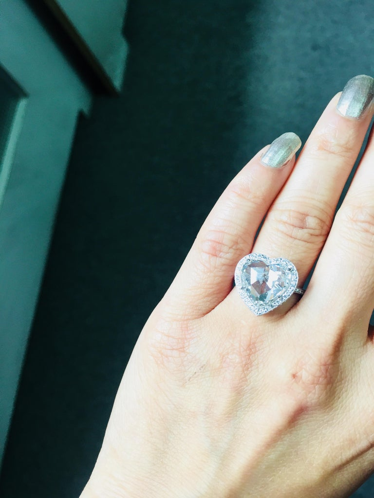 GIA Certified 4.11 Carat Heart Shape Rose Cut Ring In Platinum.  For Sale 2