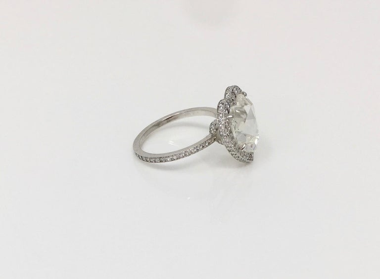 GIA Certified 4.11 Carat Heart Shape Rose Cut Ring In Platinum.  For Sale 3