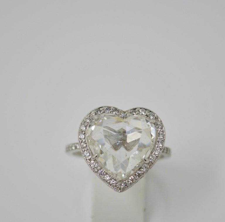 GIA Certified 4.11 Carat Heart Shape Rose Cut Ring In Platinum.  For Sale 4