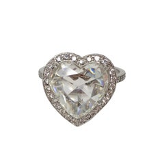GIA Certified 4.11 Carat Heart Shape Rose Cut Ring In Platinum.