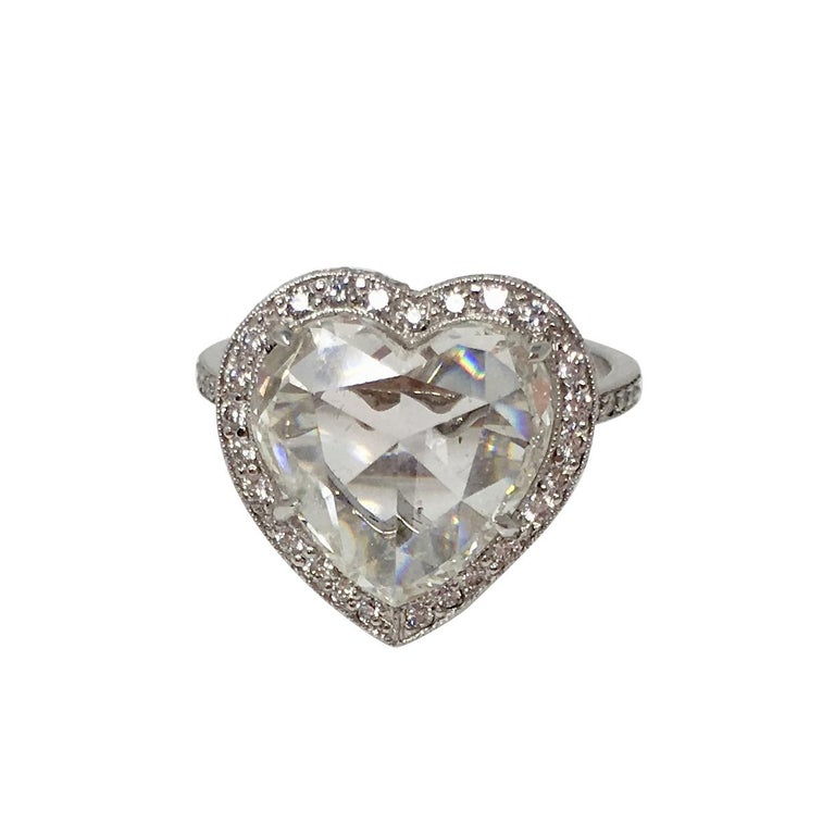 GIA Certified 4.11 Carat Heart Shape Rose Cut Ring In Platinum.  For Sale