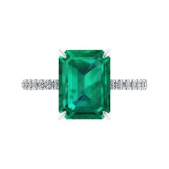 GIA Certified 4.14 Carat Emerald Cut Colombian Emerald Diamond Platinum Ring