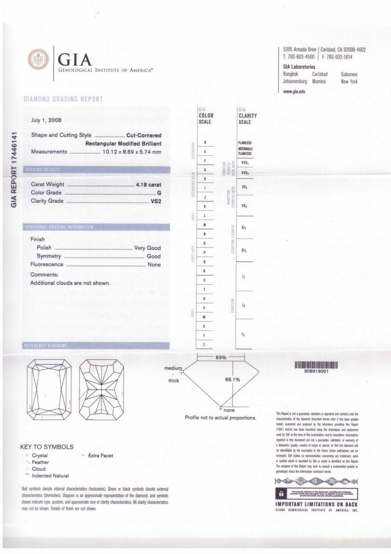 Radiant Cut GIA Certified 4.18 Carat G-VS2 Radiant Diamond Ring For Sale